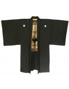 Men's vintage japanese kimono Haori jacket Montsuki black Silk
